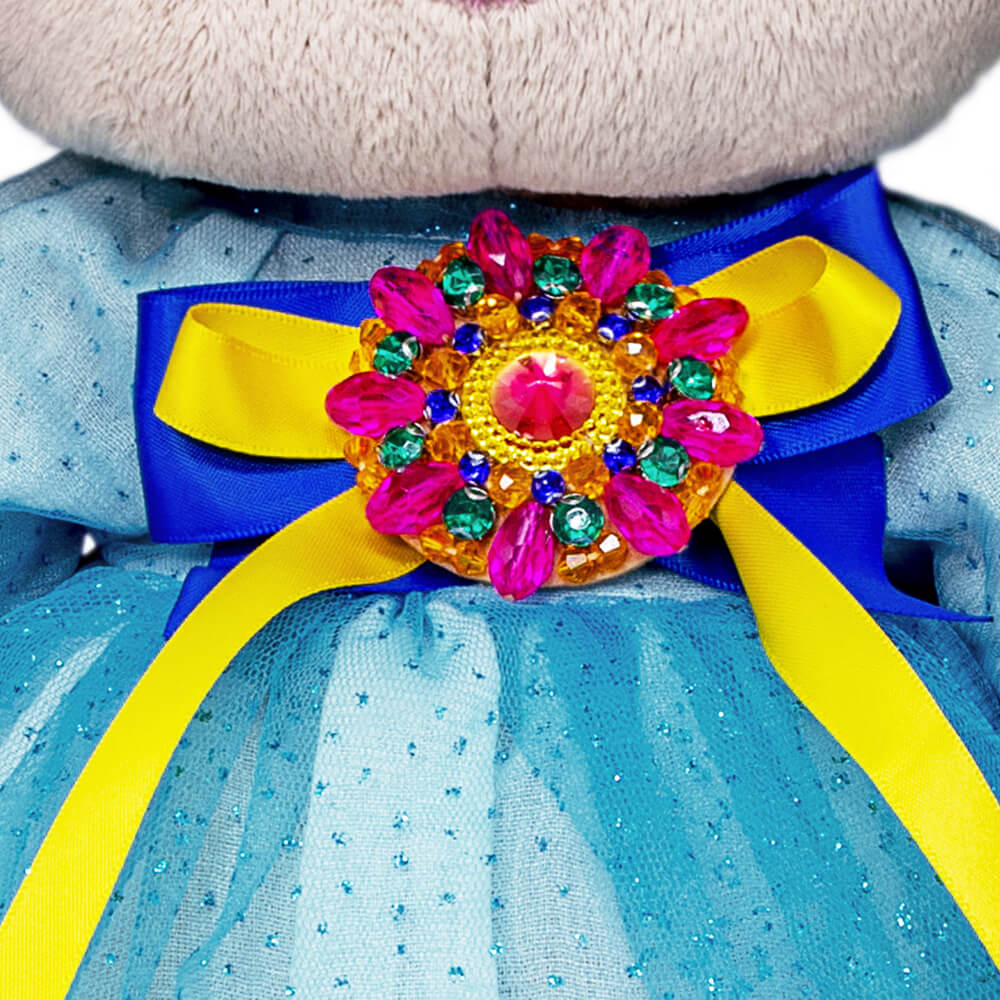 Зайка Ми в платье с брошкой 34 см