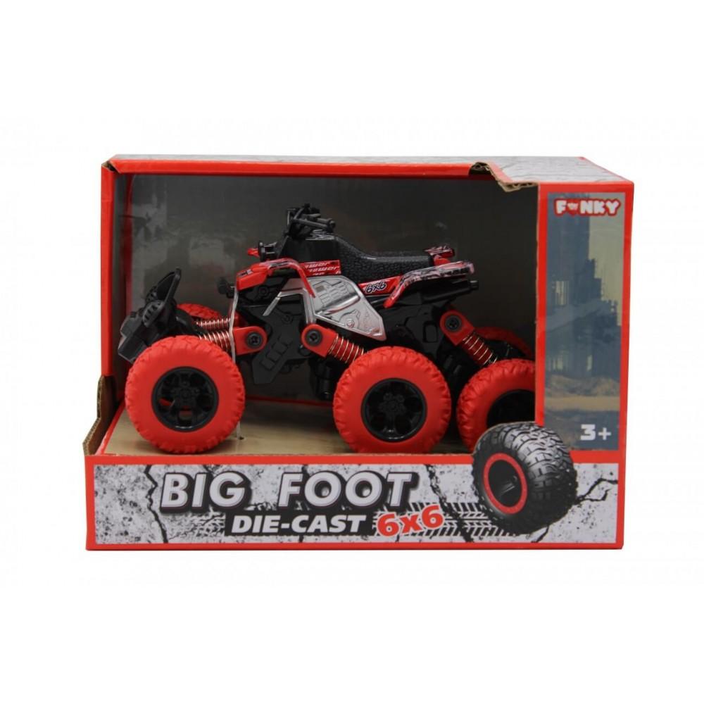 Машина пластиковая FUNKY TOYS Квадроцикл die-cast, инерционный, красный, 6*6