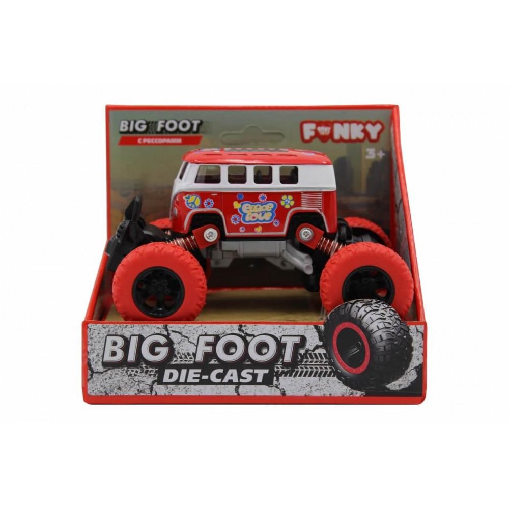 Машина пластиковая FUNKY TOYS Автобус die-cast, инерционный, красный, 1:46
