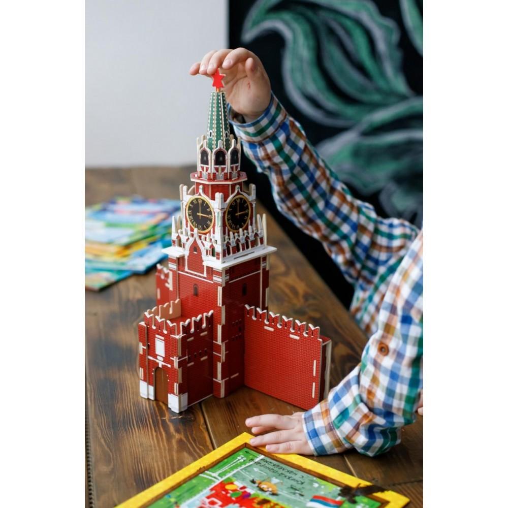 Деревянный пазл ГЕОДОМ Кремль. Спасская башня 3D 4894