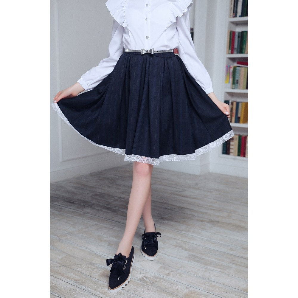 Blue school skirt with lace YB-003
