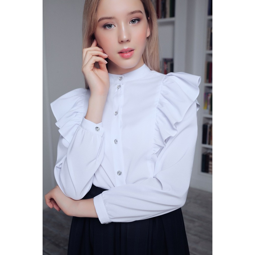 Blouse with frills white BL-011