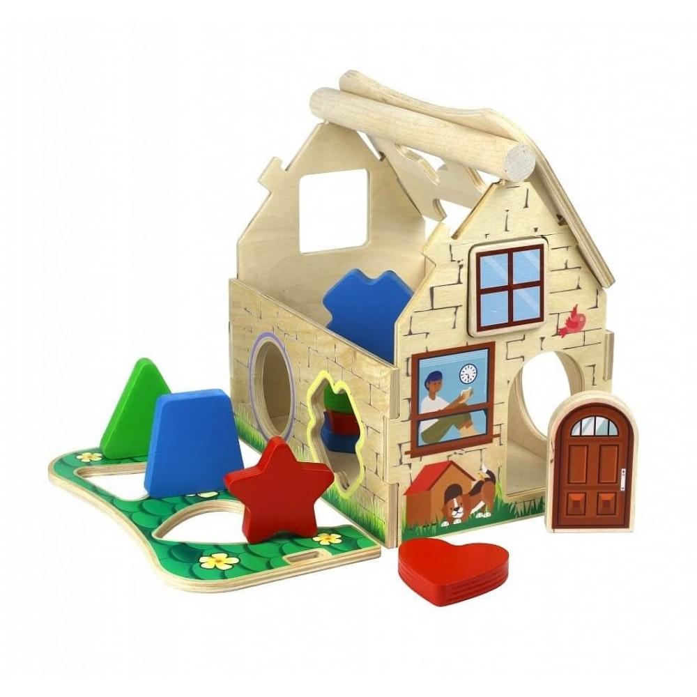 Сортер деревянный Кирпичный домик